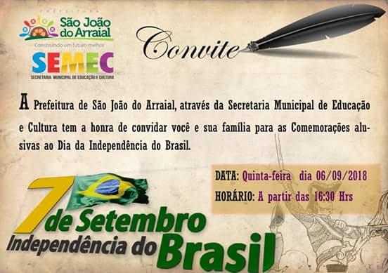 Comemorações alusivas ao dia da Independência do Brasil acontecem hoje