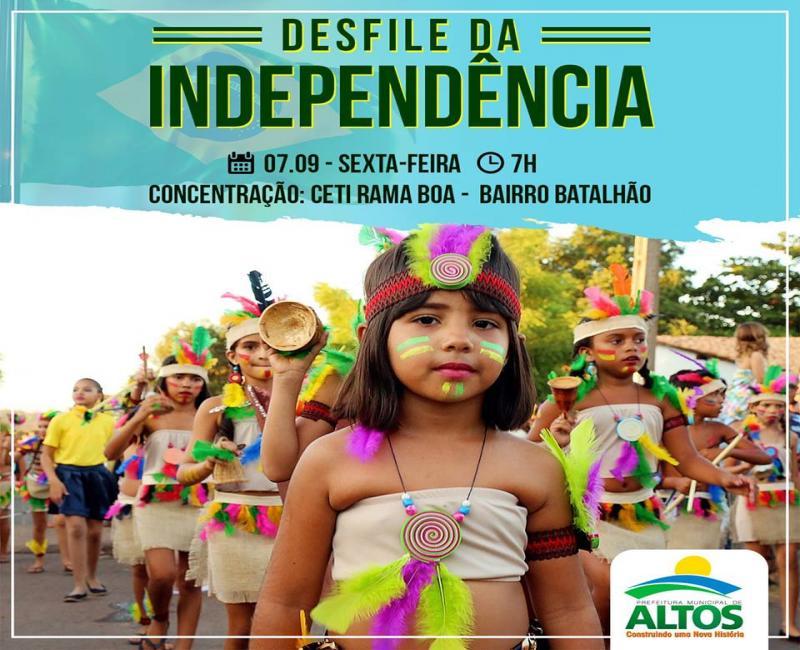 Prefeitura de Altos realizará Desfile Cívico nesta sexta-feira