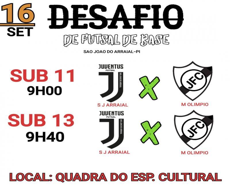 Desafio de futsal categoria de base acontecerá em São João do Arraial