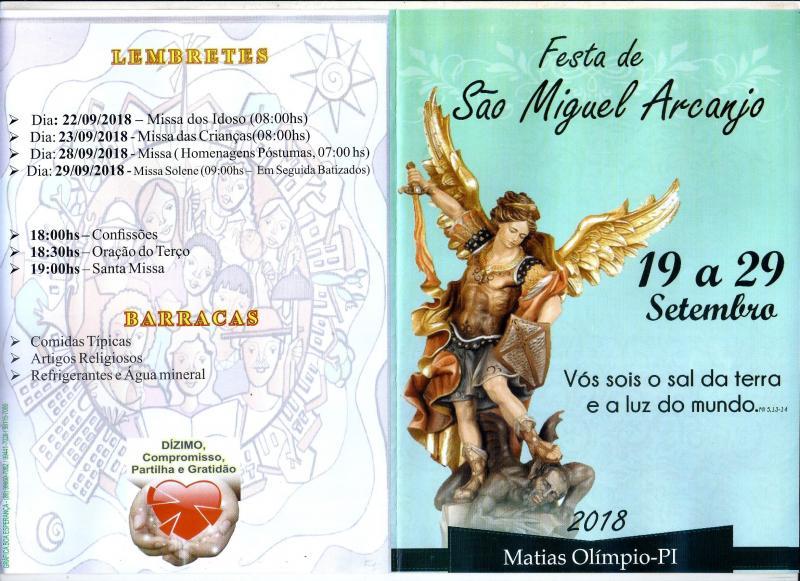 Confira a programação dos Festejos de São Miguel Arcanjo