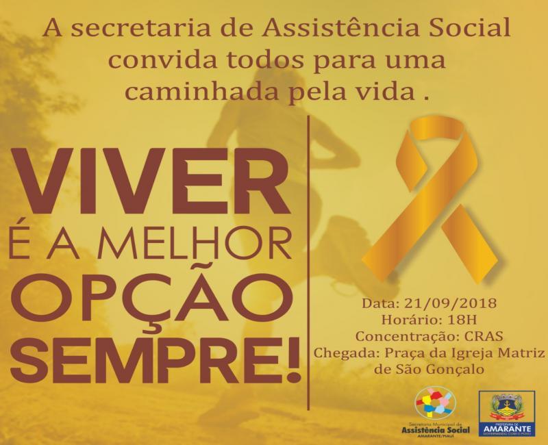 Setembro Amarelo: Prefeitura de Amarante realiza 'Caminhada pela vida'