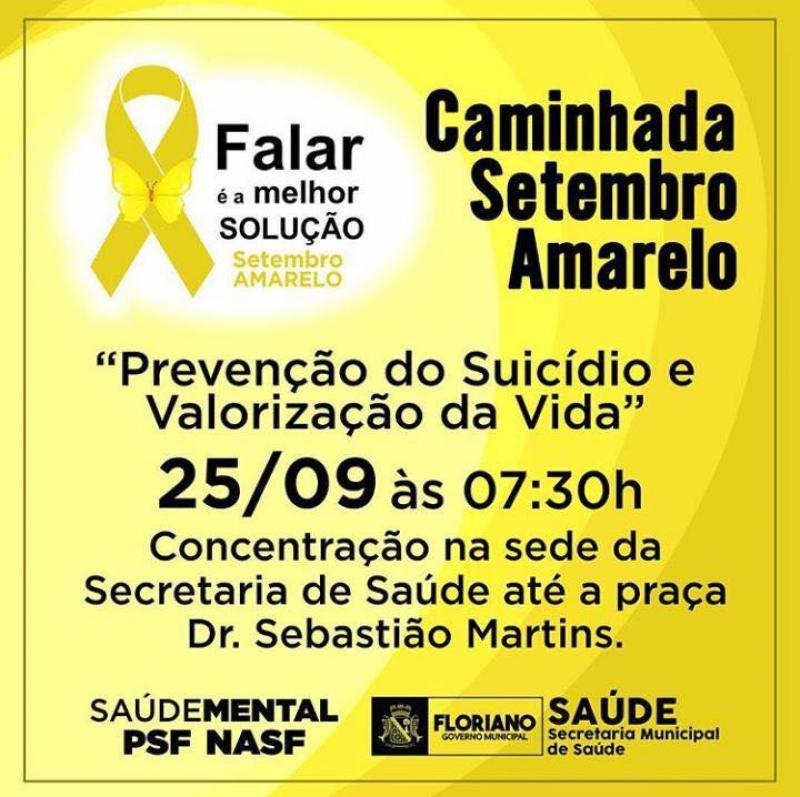 Em Floriano, caminhada marcará ações do Setembro Amarelo