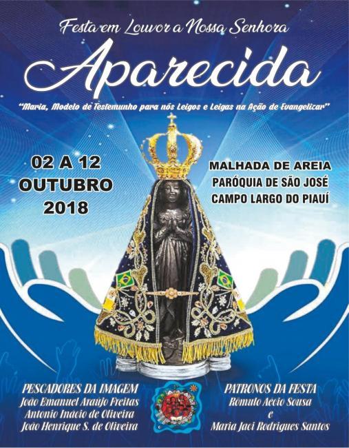 Convite| Programação dos festejos de N. Sra. Aparecida em Malhada de Areia
