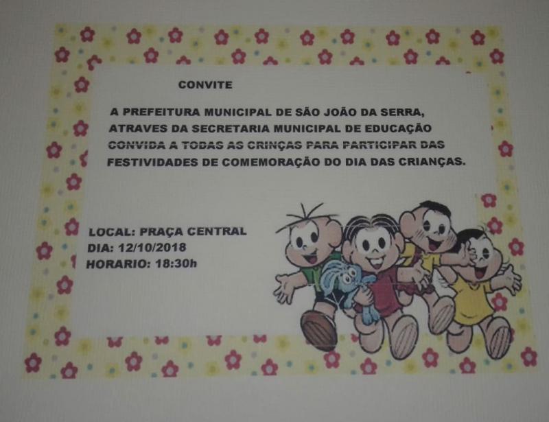 Convite da Prefeitura a todas as crianças para grande festa