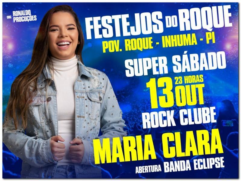 Confirmado: Show com Maria Clara no festejo do Roque