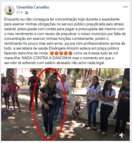 Em crise, secretária de saúde de Esperantina faz dancinha em Praça Pública