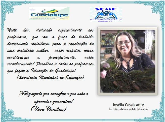Secretária de Educação de Guadalupe homenageia Professores pelo seu Dia