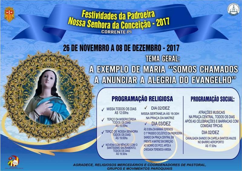 Paróquia Nossa Senhora da Conceição divulga a programação para festa da padroeira