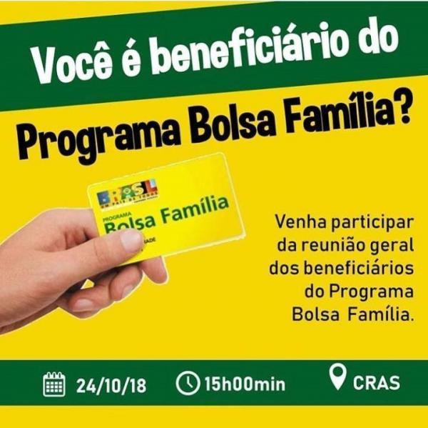 Prefeitura de Água Branca convida beneficiários do Bolsa Família