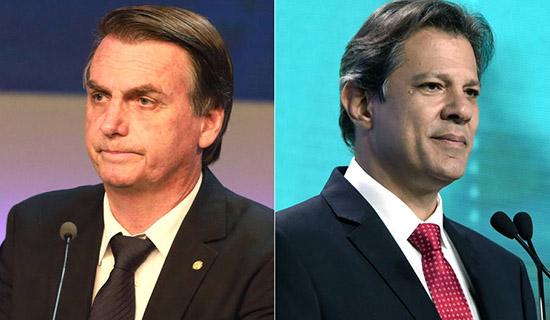 Pesquisa Ibope aponta Bolsonaro com 57% e Haddad com 43%