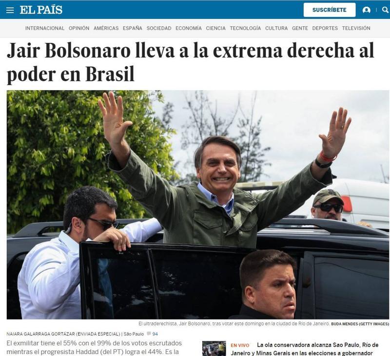 Mídia internacional repercute a vitória de Jair Bolsonaro