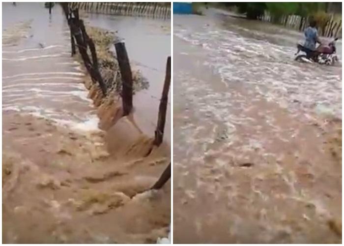 Forte chuva alaga ruas e deixa cidade ilhada no Piauí