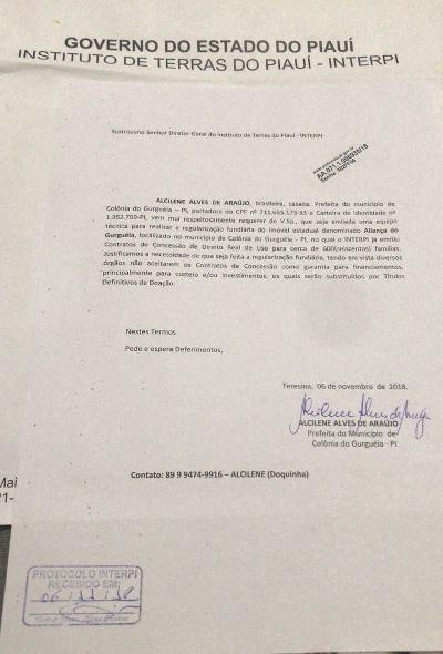 Prefeita Doquinha solicitou os títulos das terras de Aliança do Gurgueia
