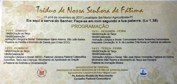 Localidade Boi Morto se prepara para o tríduo de Nsa de Fátima