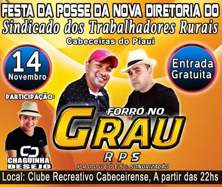 Festa de posse da nova diretoria do STR de Cabeceiras será dia 14 de novembro