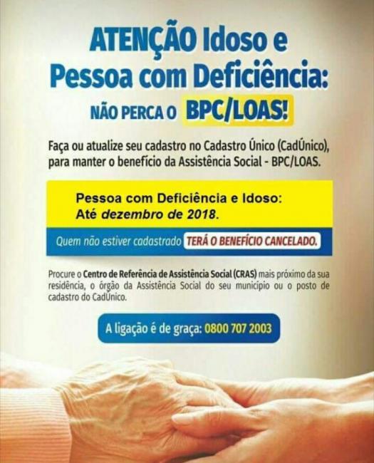 Regularização cadastral exige presença de idosos e deficientes no CRAS
