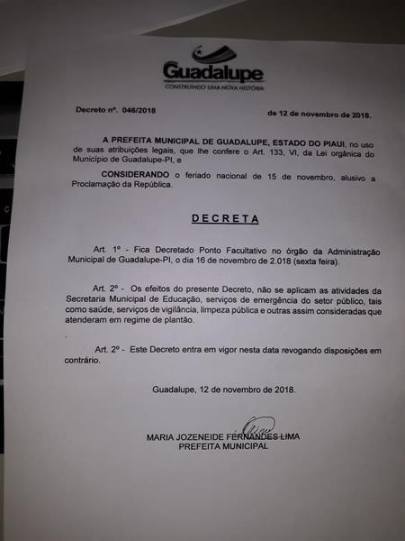 Prefeita Decreta novo ponto facultativo em Guadalupe