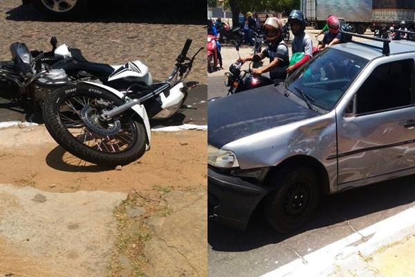Motociclista tem fratura exposta após colidir em carro