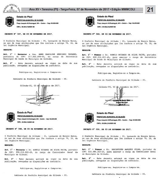 Mudanças no secretariado e de outros cargos da Prefeitura Municipal de Gilbués