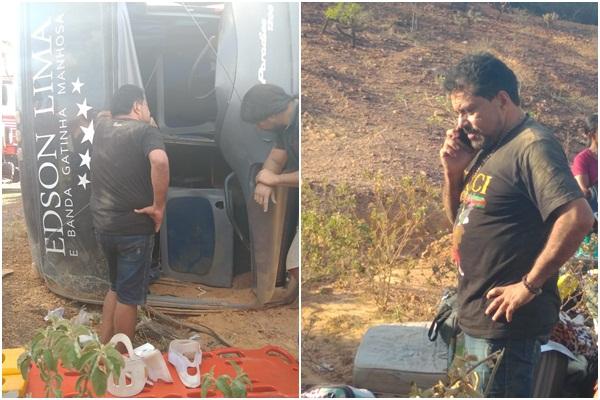 Acidente com ônibus do cantor Edson Lima deixa um morto no Piauí