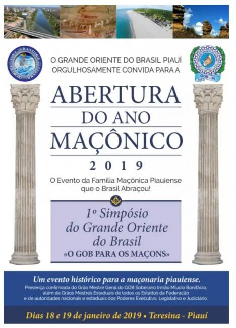 Participe da abertura do Ano Maçônico do GOB-PI 2019