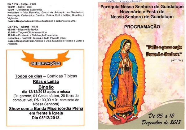 Paróquia de Nossa Senhora de Guadalupe divulga programação para o Festejo