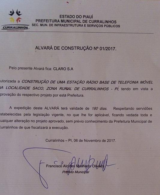 Prefeito autoriza construção de estação rádio base de telefonia móvel em Curralinhos