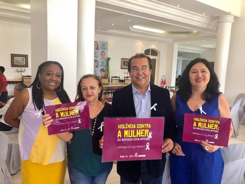 Prefeito Jonas Moura acompanha lançamento da campanha Laço Branco no Piauí