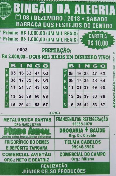 Sábado é dia de Bingão da Alegria R$ 2 mil reais em Dinheiro, Participe!