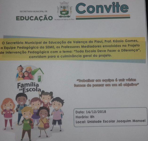 Culminância geral do Projeto de Intervenção Pedagógica acontecerá dia 14