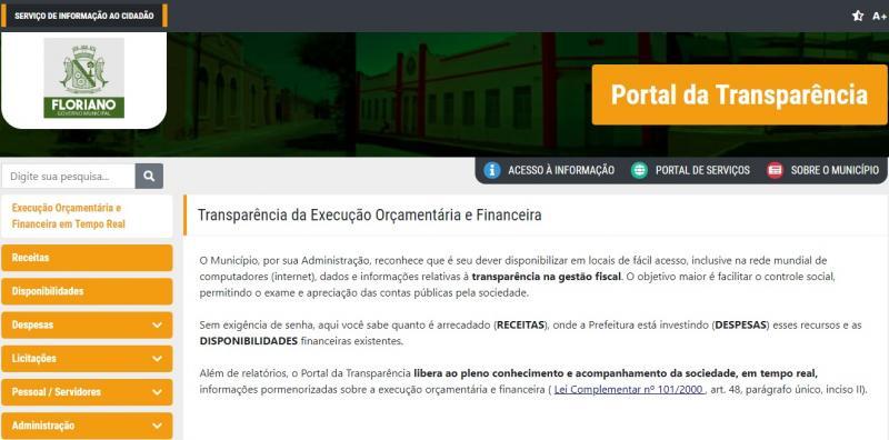 Floriano é um dos municípios com maior transparência nas contas públicas