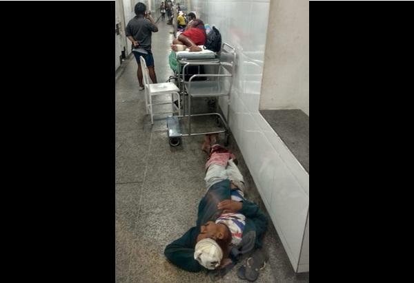 Pacientes são alojados em chão de hospital no Maranhão