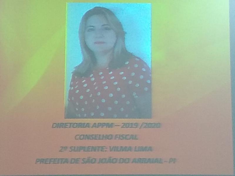 Prefeita Vilma Lima é eleita 2° suplente do Conselho fiscal da APPM