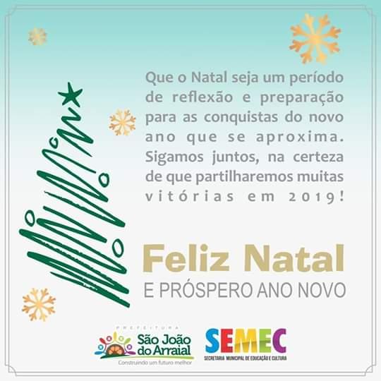 Mensagem de feliz Natal e ano novo da secretária de educação Rosinha Lima