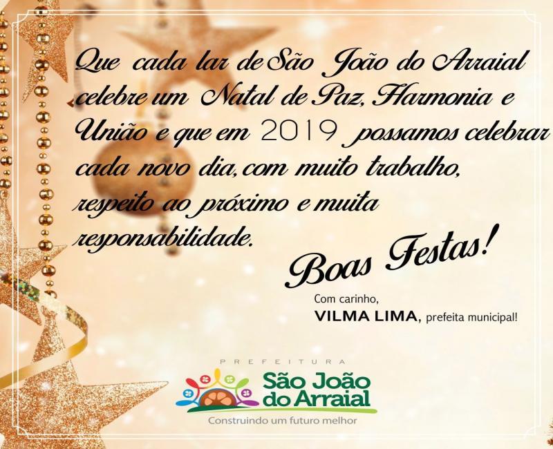 Mensagem de feliz Natal e próspero ano novo da Prefeita Vilma Lima