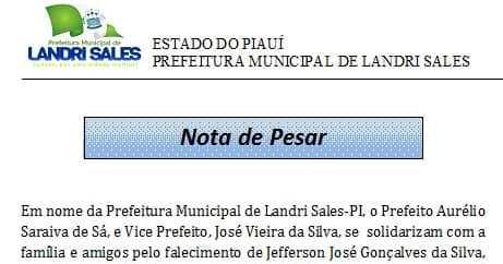 Em nota, prefeito Aurélio Sá transmite solidariedade à família de Jefferson