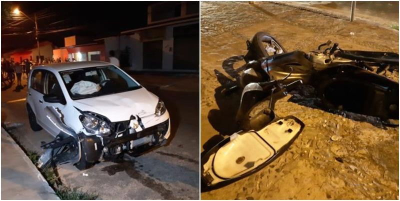 Colisão violenta entre carro e moto deixa um morto em Parnaíba