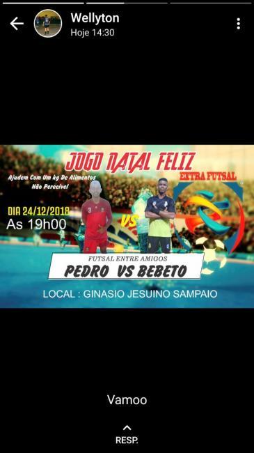 Jogo Natal Feliz Futsal entre amigos de Pedro X Bebeto