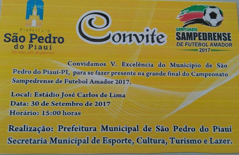 Prefeitura convida população para grande final de campeonato em São Pedro