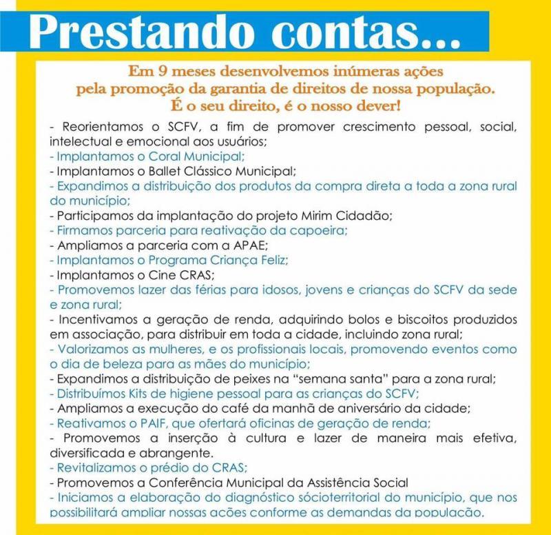 Secretaria de Assistência Social de São Pedro divulga prestação de contas