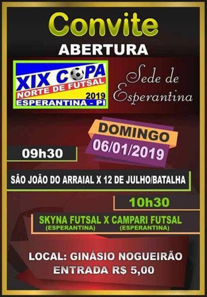 Acontece amanhã (06/01) a Abertura da XIX edição da Copa Norte de Futsal