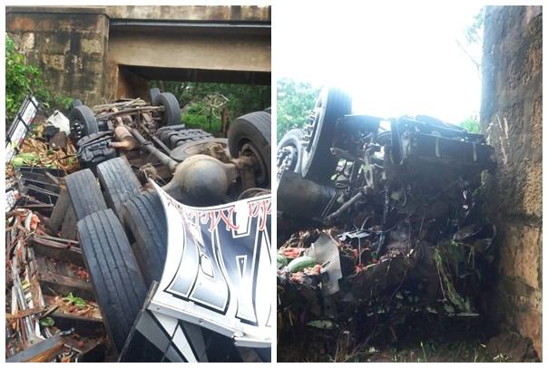 Caminhão capota na BR-316 e motorista morre esmagado na cabine
