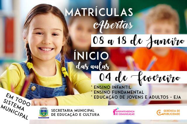 Matrículas para a rede municipal de ensino iniciaram nesta terça-feira