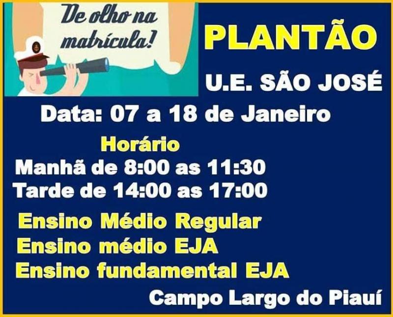 Plantão de matrículas 2019 da UESJ em Campo Largo-PI