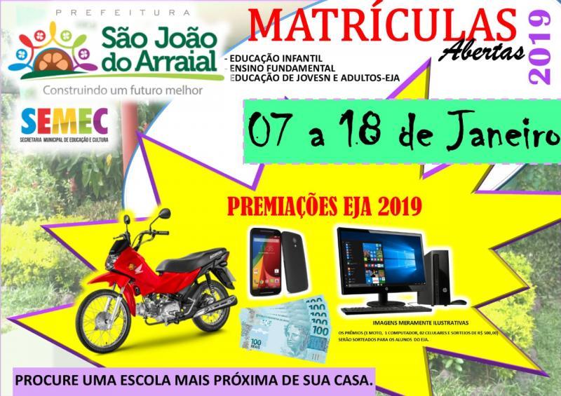 Abertas as matrículas da rede municipal de ensino de São João do Arraial