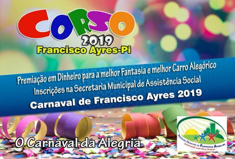 Prefeitura de Francisco Ayres abre inscrições para o corso 2019