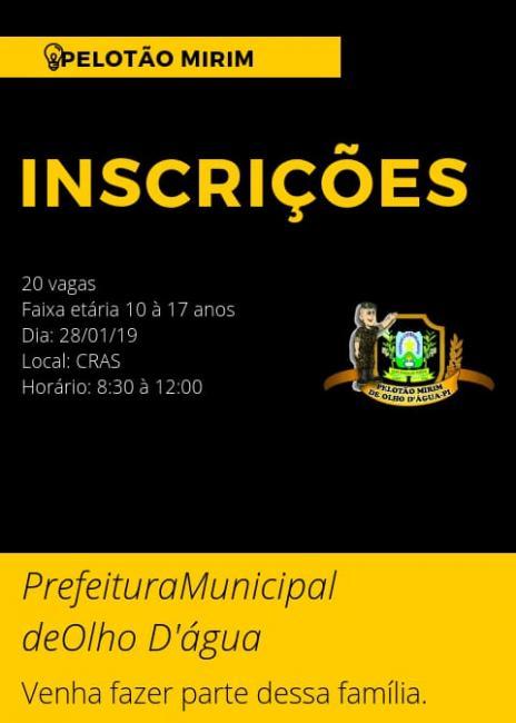Prefeitura em parceria com a Coordenação do Pelotão Mirim abre novas vagas