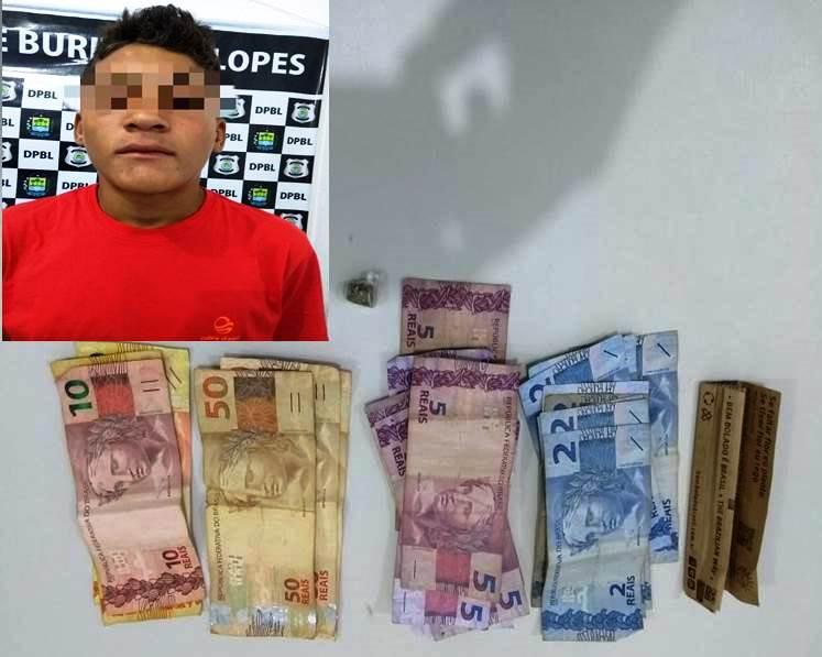 Adolescente é flagrado pela policia militar traficando drogas