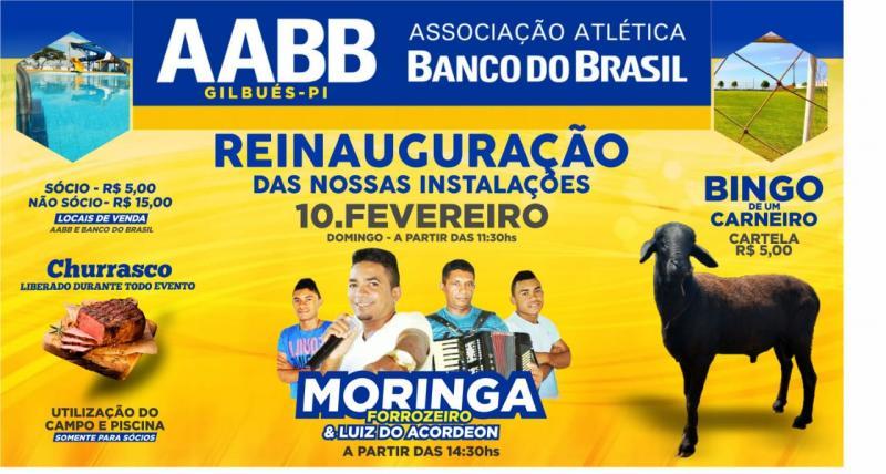 Convite: festa de reinauguração das novas instalações da AABB de Gilbués