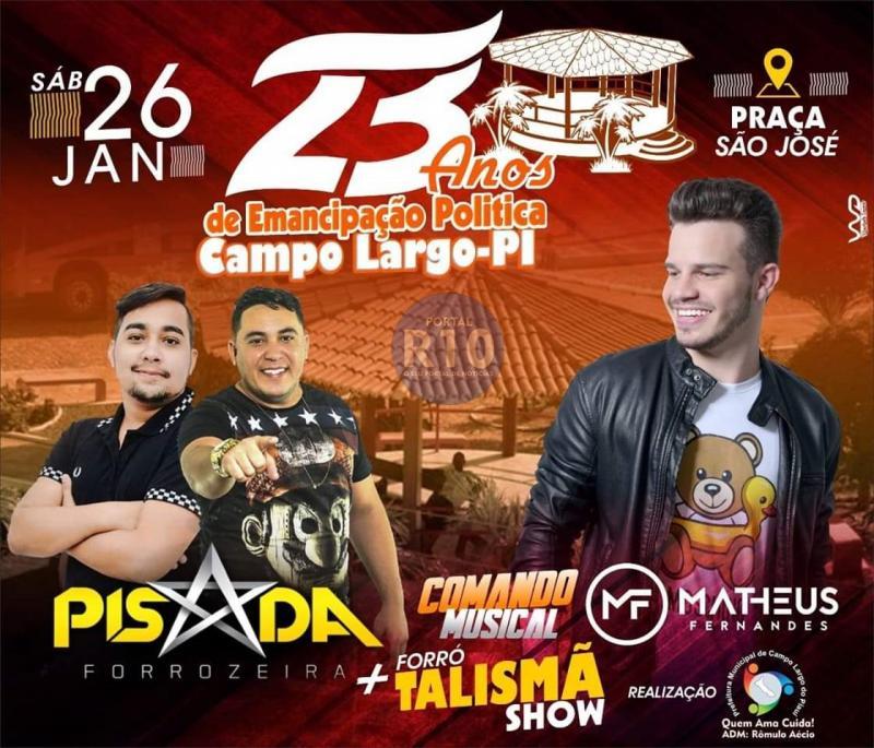 Confira bandas confirmadas no 23° aniversário de Campo Largo do Piauí-PI